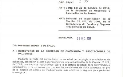 DE INTERÉS PARA PACIENTES ONCOLÓGICOS AFILIADOS A ISAPRES