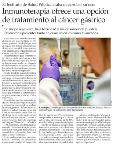 Inmunoterapia ofrece una opción de tratamiento al cáncer gástrico