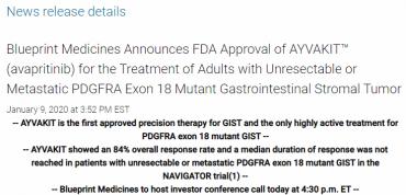 Blueprint Medicines anuncia la aprobación de la FDA de AYVAKIT ™ (avapritinib) de GIST PDGFRA Exón 18