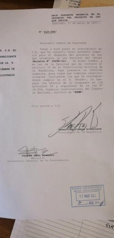 Gobierno pone suma urgencia a la Ley Nacional del Cáncer